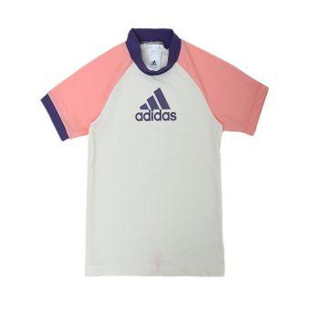 Adidas AM FSP S120 RG Girl's Short Sleeve Swimwear - White Pink