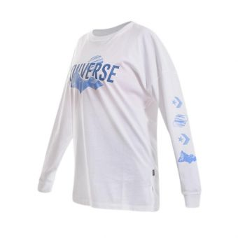 Converse Icon Remix LS Tee Women's Casual Clothing - White