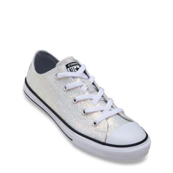 Converse Chuck Taylor All Star Coated Glitter Girl's Shoes - Grey