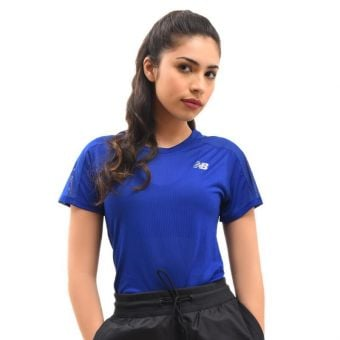 New Balance Impact Run Women's Short Sleeve - Blue